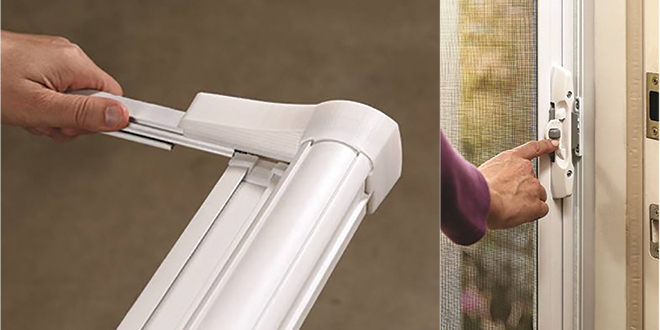 Retractable screen door hardware retailing for Inside mount retractable screen door
