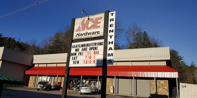 Gatlinburg Hardware Store Still Stands After Wildfire's Devastation