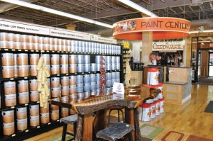 Bright colors and high-end finishes give North Meridian Hardware the look and feel of an upscale specialty shop.