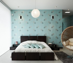 Bold wallpaper adds visual appeal to an otherwise neutral and simple bedroom.