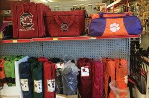 Portable chairs are a popular product for the tailgating crowd. They can feature university logos or school colors.