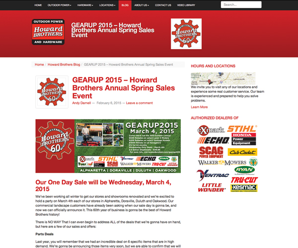 Andy Darnell, director of marketing for Howard Brothers, regularly updates the company's blog.