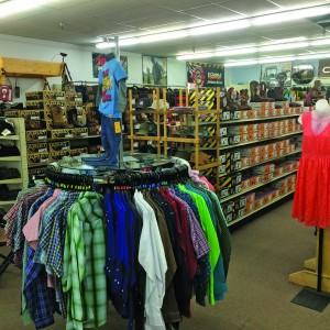 Douglas Hardware Hank provides an assortment of clothing options for its wide array of customers, including work boots, dresses, kids' attire and men's button-up shirts.