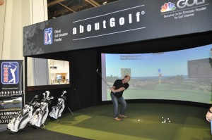 Crowds gather in the convention center to watch attendees test their skills on the aboutGolf PGA TOUR Indoor Golf Simulator.