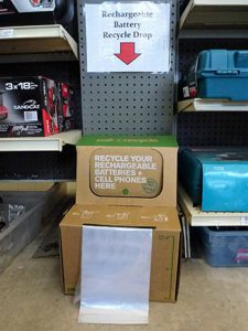 At Greenwood Hardware, recycling batteries is one way they strive to keep the community green.