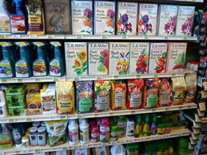 Green products like these fertilizers are alternatives for green thumbs who want to be green.