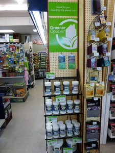 Signage that calls out green options is another way to help consumers make more conscious shopping decisions.