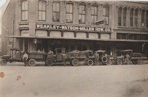 Here is a photo of the store front and the delivery vehicles at Weakley-Watson in 1925.