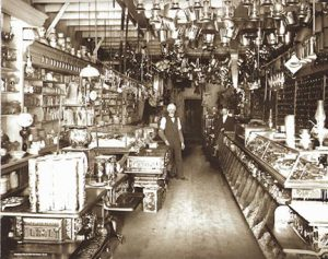 This is an older photo from the inside of Placerville Hardware. The wooden floors are the same ones customers walk on today.