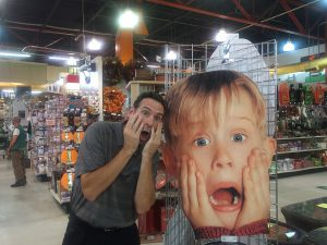 In this photo, NRHA's Tom Marcum poses next to a cut out image of the character Kevin from the movie Home Alone.