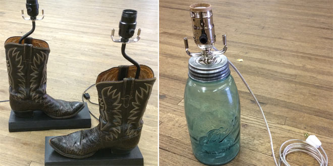 Store Makes Lamp Fixtures Out of Various Items