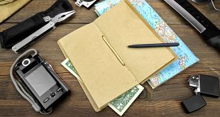 A camera, multitool, lighter, pen, map, and money on a table