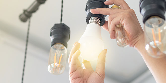 Person Changing a Light Bulb