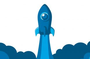 An illustration of a rocketship launching