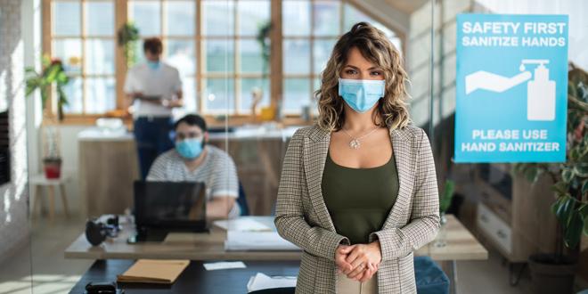 masked office worker