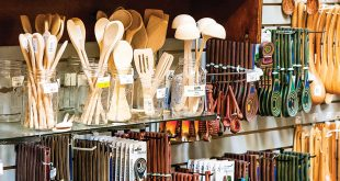 kitchen utensils in a housewares display