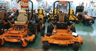 Lawn mowers on display