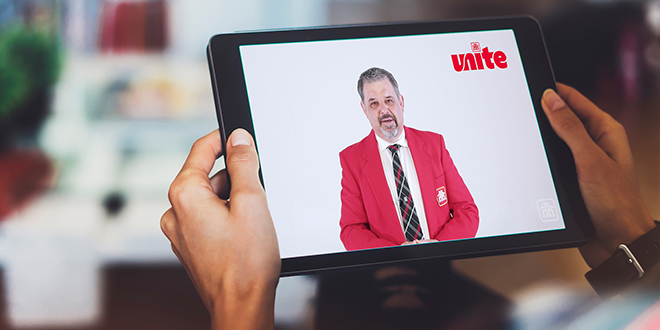 Kevin McNab of Home Hardware on a tablet screen