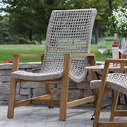 teak and rope lounge chair